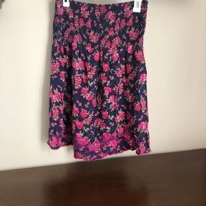 Strapless navy and magenta floral mini dress